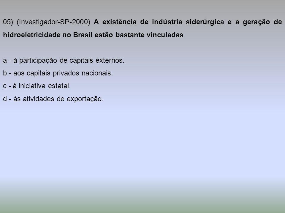 05) (Investigador-SP-2000) A existência de indústria siderúrgica e a geração de hidroeletricidade no Brasil estão bastante vinculadas