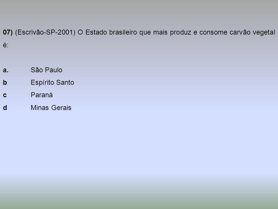 07) (Escrivão-SP-2001) O Estado brasileiro que mais produz e consome carvão vegetal é: