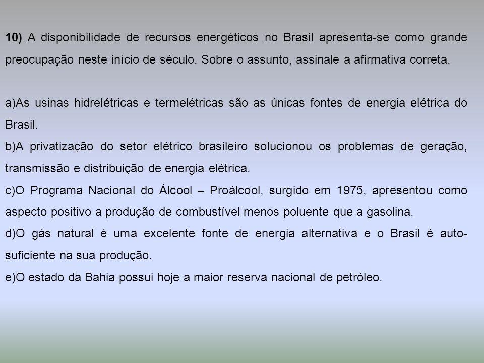 10) A disponibilidade de recursos energéticos no Brasil apresenta-se como grande preocupação neste início de século. Sobre o assunto, assinale a afirmativa correta.