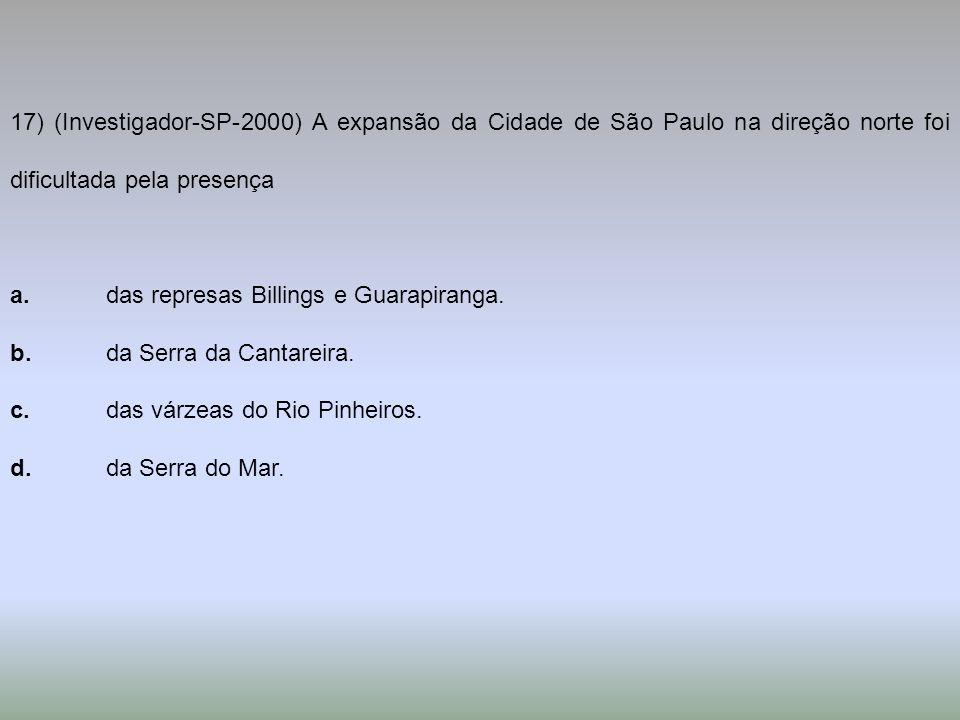17) (Investigador-SP-2000) A expansão da Cidade de São Paulo na direção norte foi dificultada pela presença