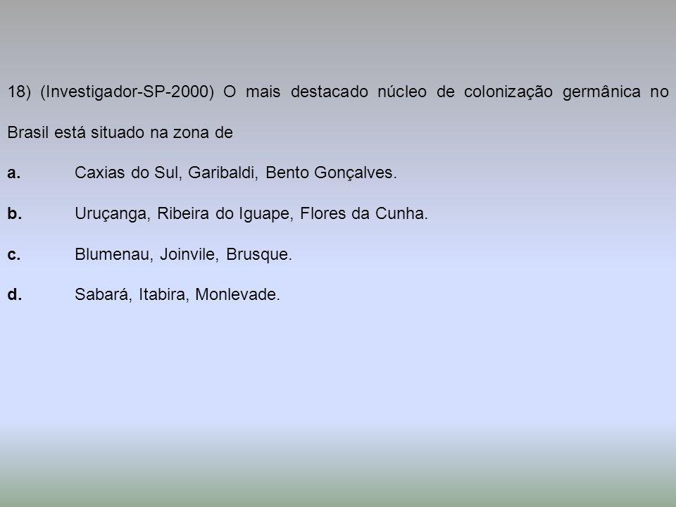 18) (Investigador-SP-2000) O mais destacado núcleo de colonização germânica no Brasil está situado na zona de