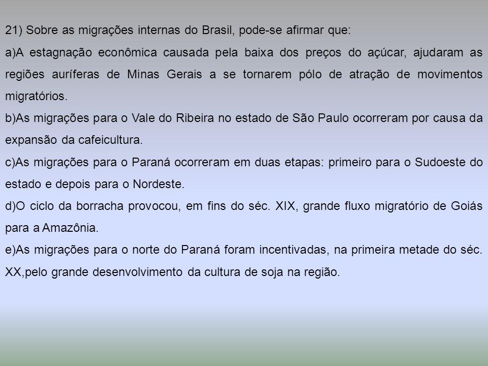 21) Sobre as migrações internas do Brasil, pode-se afirmar que: