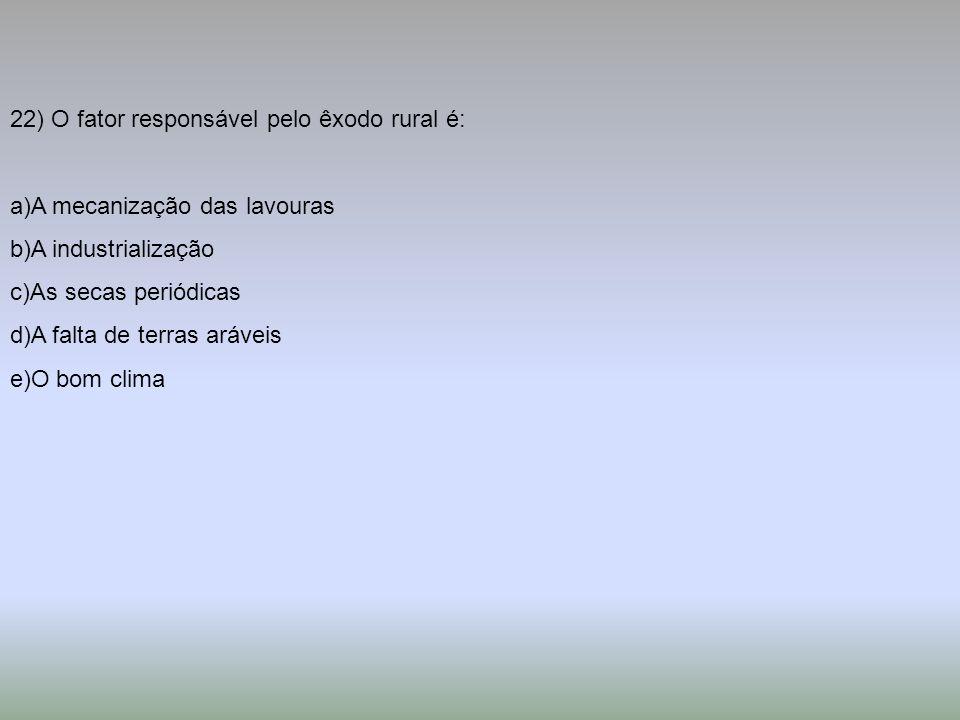 22) O fator responsável pelo êxodo rural é: