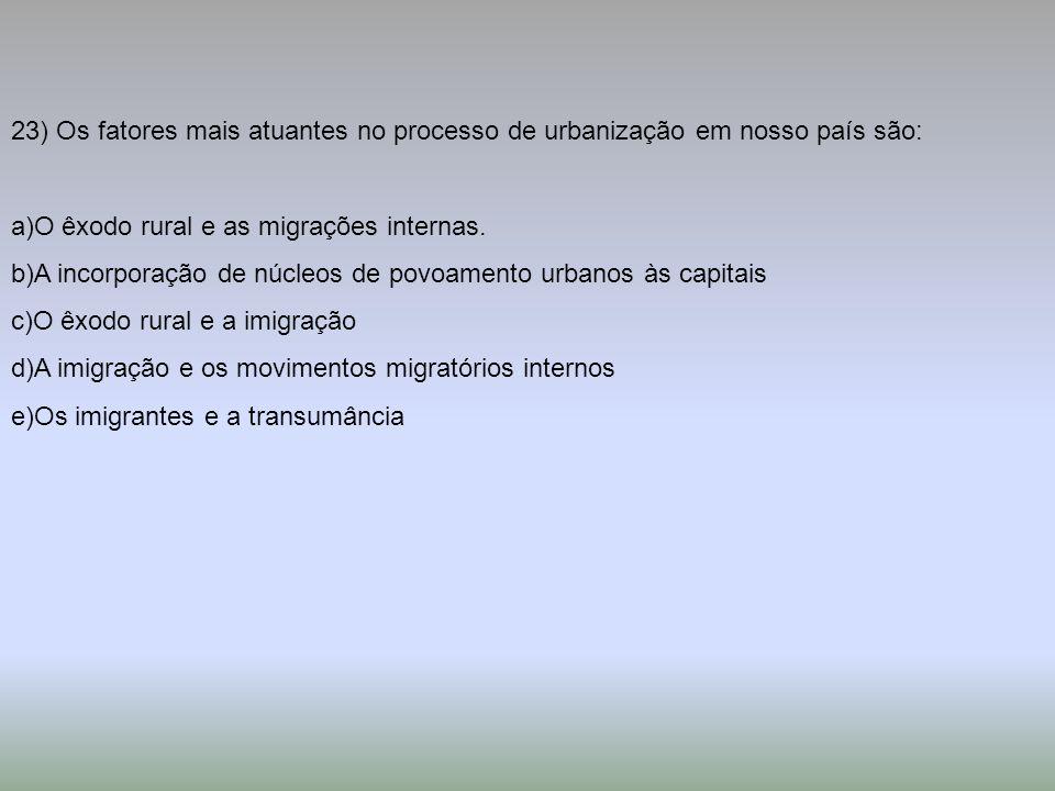 23) Os fatores mais atuantes no processo de urbanização em nosso país são: