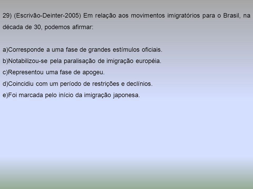 29) (Escrivão-Deinter-2005) Em relação aos movimentos imigratórios para o Brasil, na década de 30, podemos afirmar: