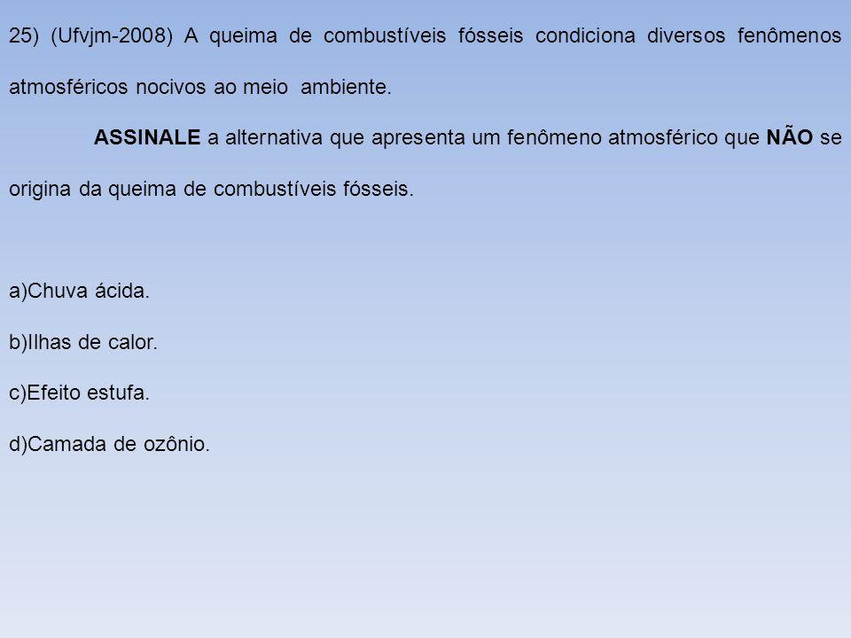25) (Ufvjm-2008) A queima de combustíveis fósseis condiciona diversos fenômenos atmosféricos nocivos ao meio ambiente.