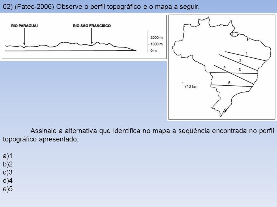 02) (Fatec-2006) Observe o perfil topográfico e o mapa a seguir.