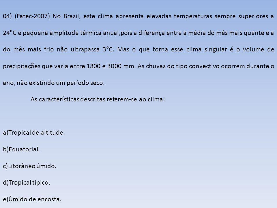04) (Fatec-2007) No Brasil, este clima apresenta elevadas temperaturas sempre superiores a 24°C e pequena amplitude térmica anual,pois a diferença entre a média do mês mais quente e a do mês mais frio não ultrapassa 3°C. Mas o que torna esse clima singular é o volume de precipitações que varia entre 1800 e 3000 mm. As chuvas do tipo convectivo ocorrem durante o ano, não existindo um período seco.
