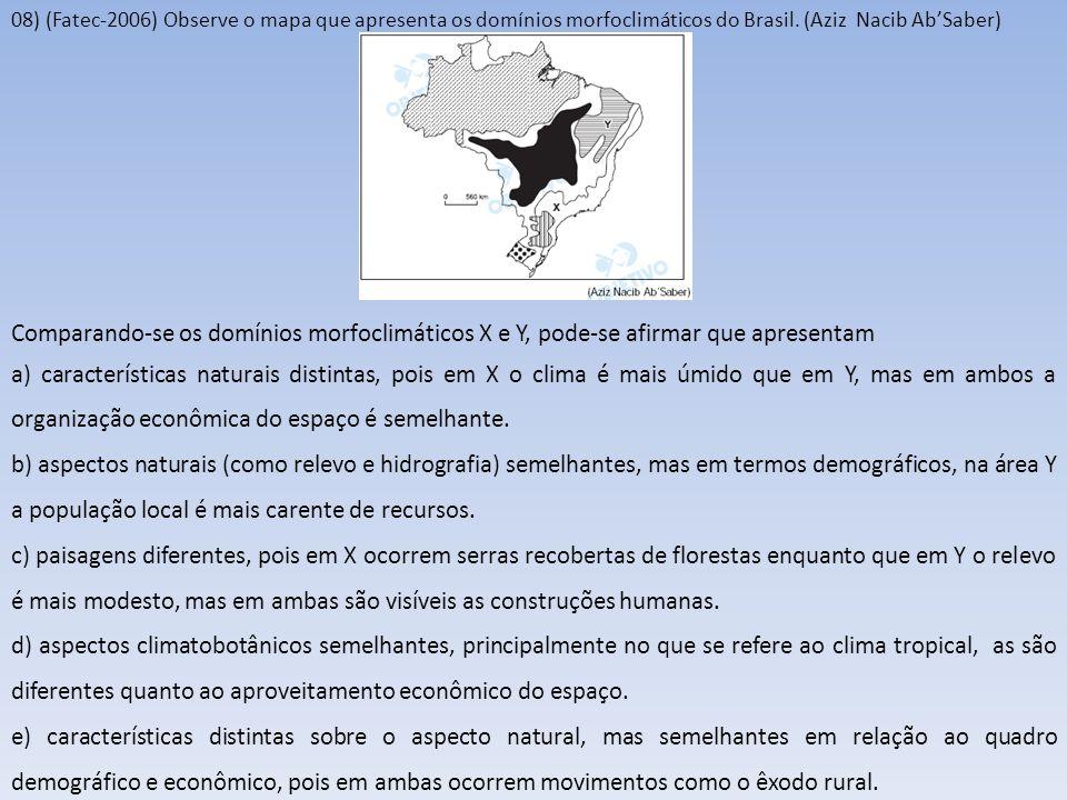08) (Fatec-2006) Observe o mapa que apresenta os domínios morfoclimáticos do Brasil. (Aziz Nacib Ab'Saber)
