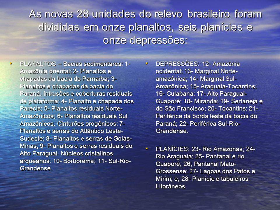 As novas 28 unidades do relevo brasileiro foram divididas em onze planaltos, seis planícies e onze depressões: