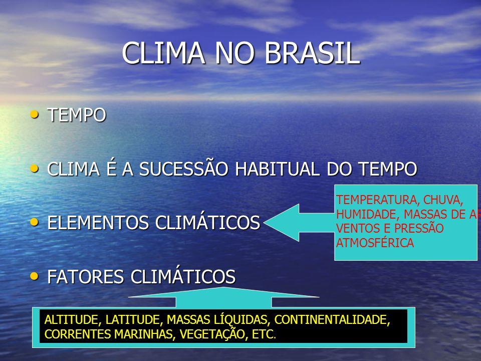 CLIMA NO BRASIL TEMPO CLIMA É A SUCESSÃO HABITUAL DO TEMPO