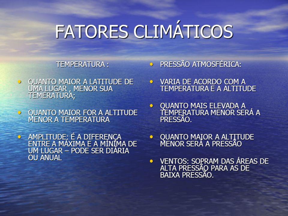 FATORES CLIMÁTICOS TEMPERATURA :