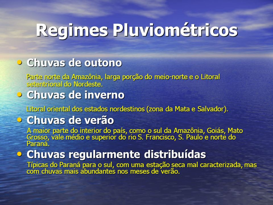 Regimes Pluviométricos
