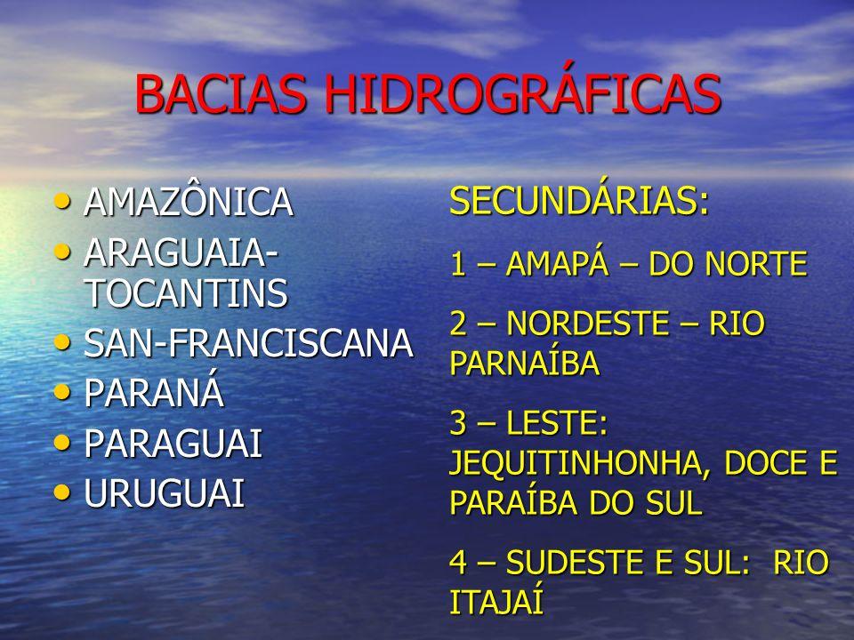 BACIAS HIDROGRÁFICAS SECUNDÁRIAS: AMAZÔNICA ARAGUAIA-TOCANTINS