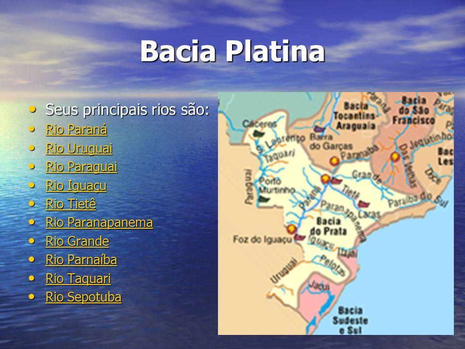 Bacia Platina Seus principais rios são: Rio Paraná Rio Uruguai