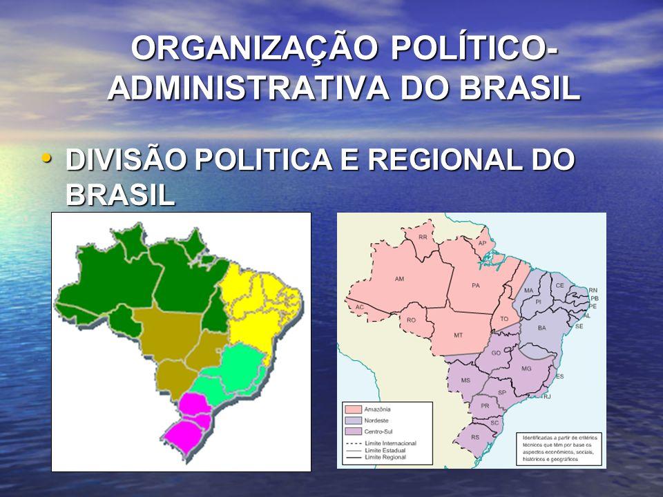 ORGANIZAÇÃO POLÍTICO-ADMINISTRATIVA DO BRASIL