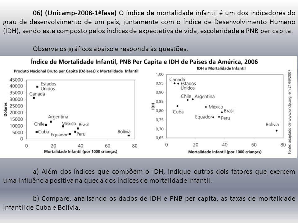 06) (Unicamp-2008-1ªfase) O índice de mortalidade infantil é um dos indicadores do grau de desenvolvimento de um país, juntamente com o Índice de Desenvolvimento Humano (IDH), sendo este composto pelos índices de expectativa de vida, escolaridade e PNB per capita.