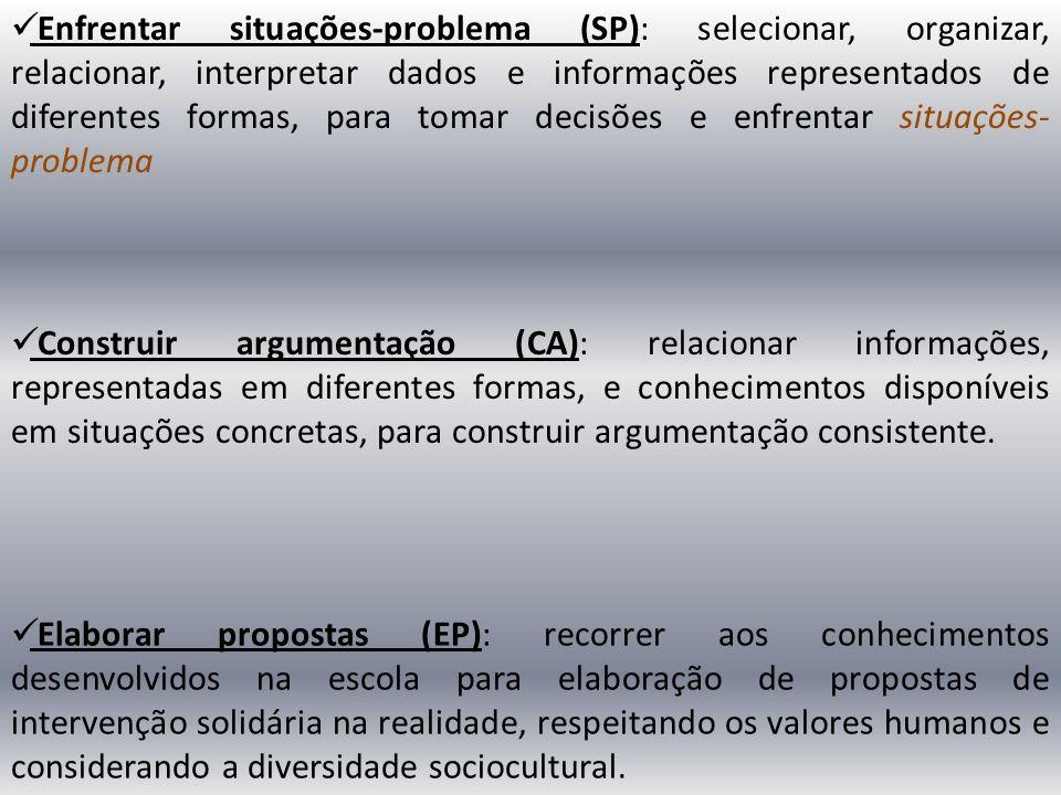Enfrentar situações-problema (SP): selecionar, organizar, relacionar, interpretar dados e informações representados de diferentes formas, para tomar decisões e enfrentar situações-problema