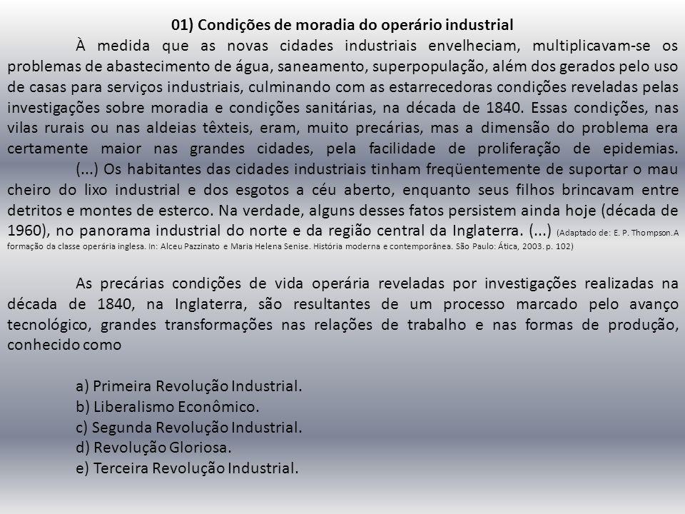 01) Condições de moradia do operário industrial