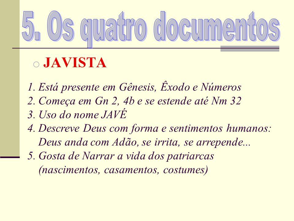 5. Os quatro documentos JAVISTA