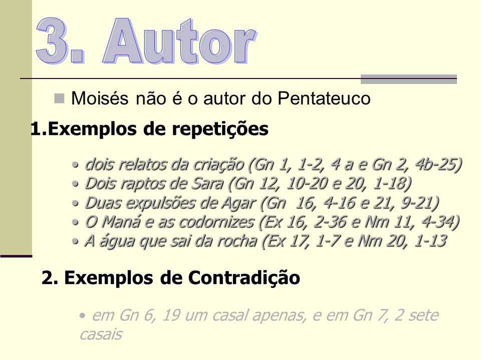 3. Autor Moisés não é o autor do Pentateuco Exemplos de repetições