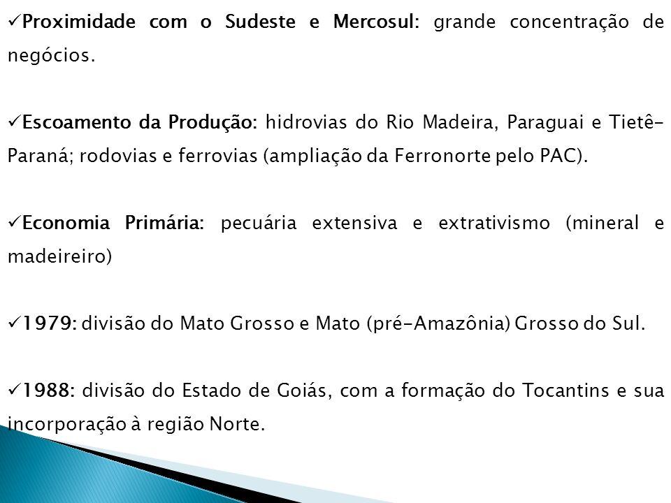 Proximidade com o Sudeste e Mercosul: grande concentração de negócios.