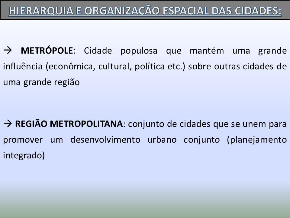 HIERARQUIA E ORGANIZAÇÃO ESPACIAL DAS CIDADES: