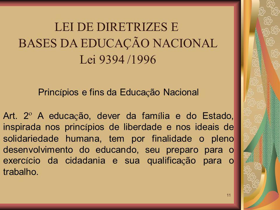 BASES DA EDUCAÇÃO NACIONAL Lei 9394 /1996