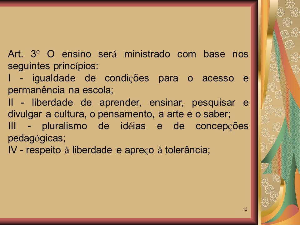 Art. 3º O ensino será ministrado com base nos seguintes princípios: