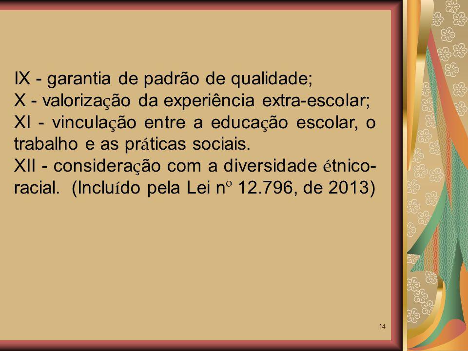 IX - garantia de padrão de qualidade;