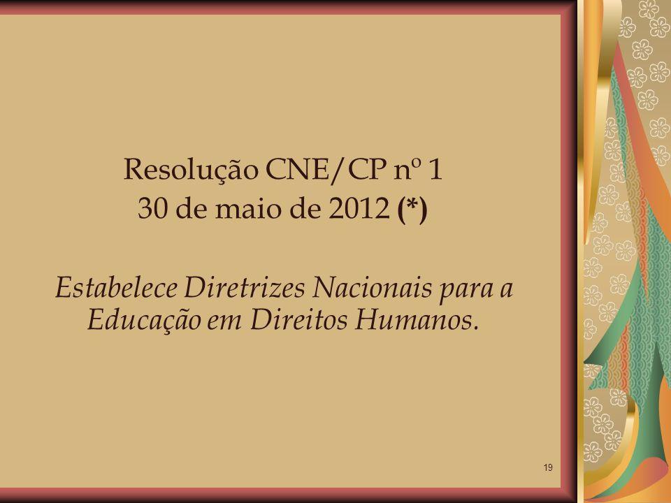 Estabelece Diretrizes Nacionais para a Educação em Direitos Humanos.