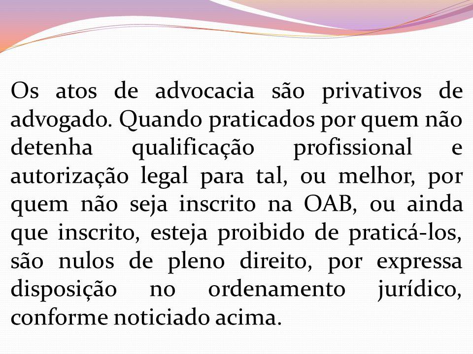 Os atos de advocacia são privativos de advogado