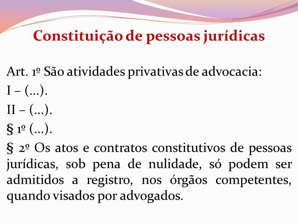 Constituição de pessoas jurídicas