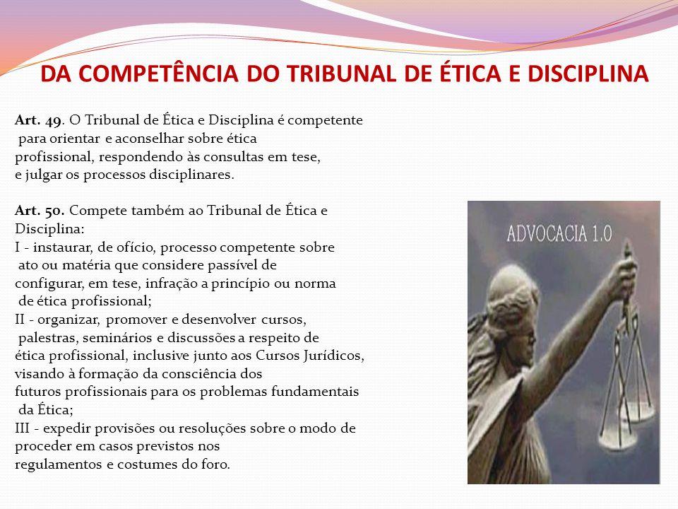 DA COMPETÊNCIA DO TRIBUNAL DE ÉTICA E DISCIPLINA