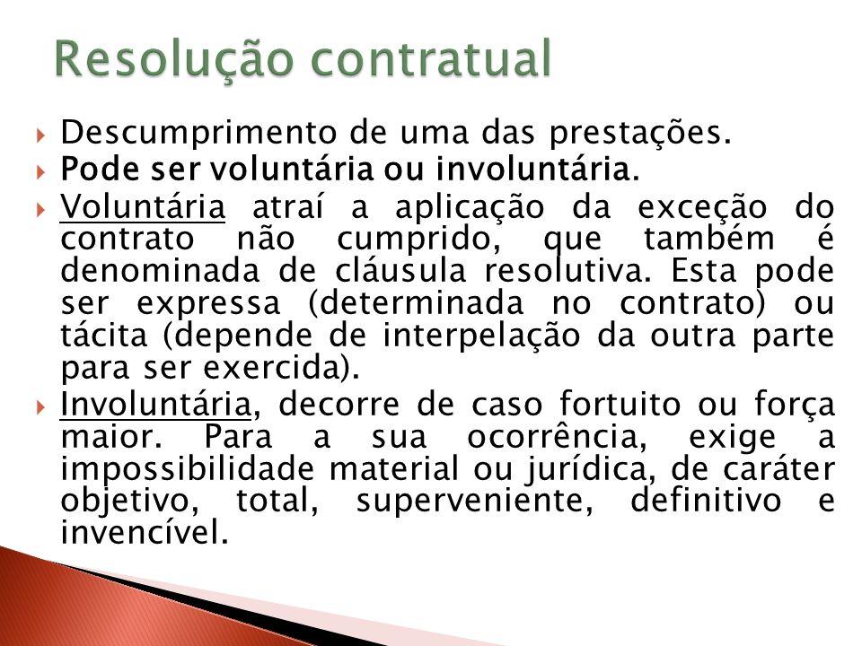 Resolução contratual Descumprimento de uma das prestações.