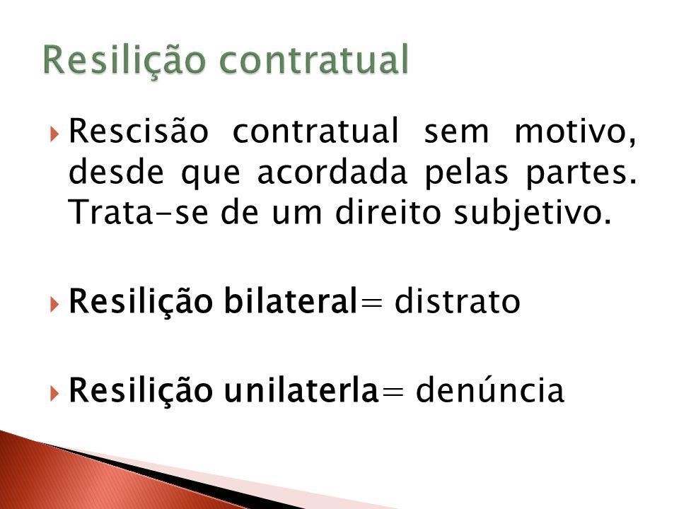 Resilição contratual Rescisão contratual sem motivo, desde que acordada pelas partes. Trata-se de um direito subjetivo.