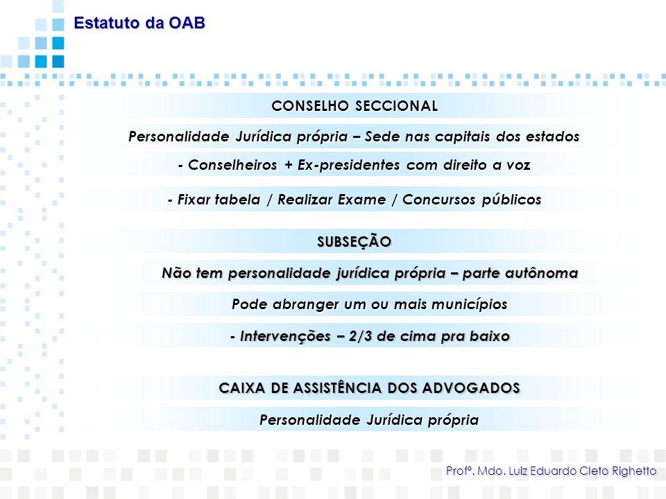Estatuto da OAB CONSELHO SECCIONAL