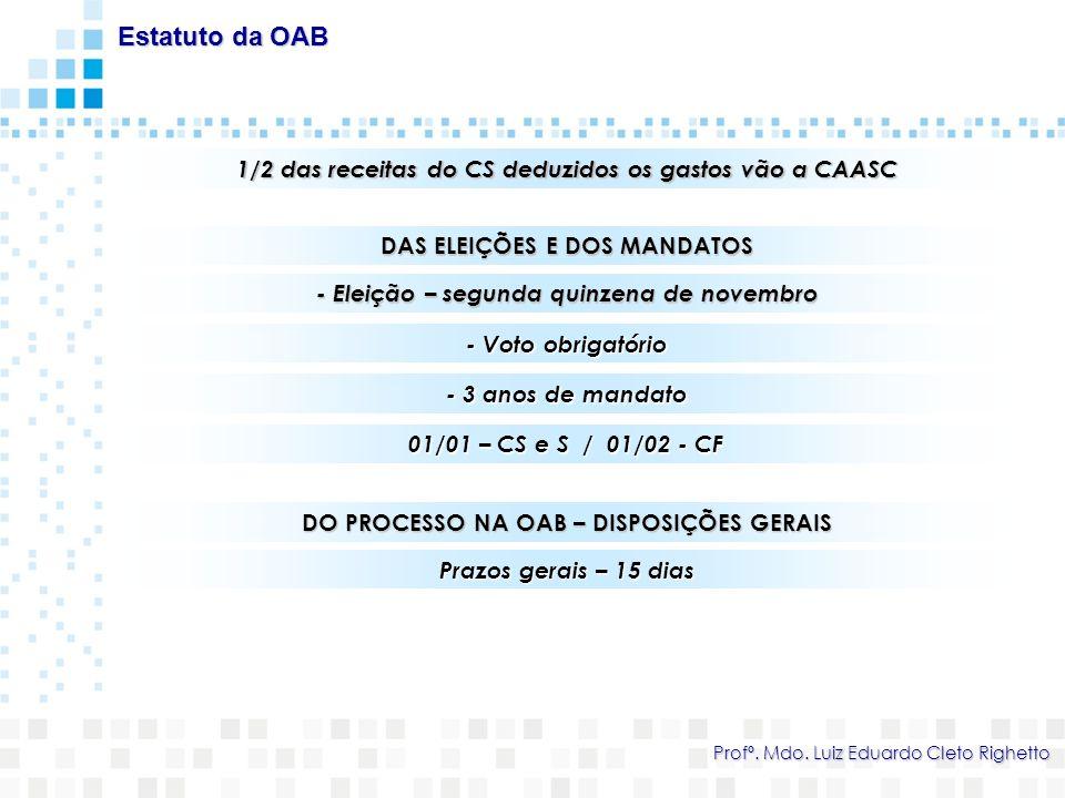 Estatuto da OAB 1/2 das receitas do CS deduzidos os gastos vão a CAASC