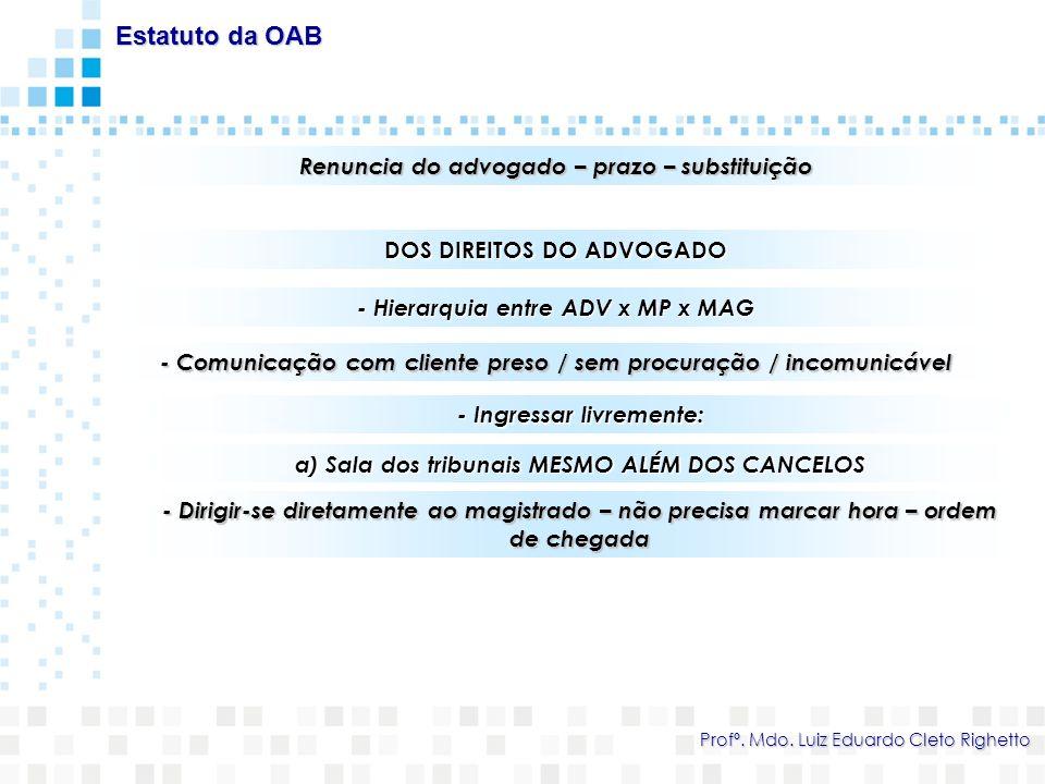 Estatuto da OAB Renuncia do advogado – prazo – substituição