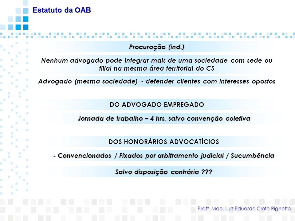 Estatuto da OAB Procuração (ind.)