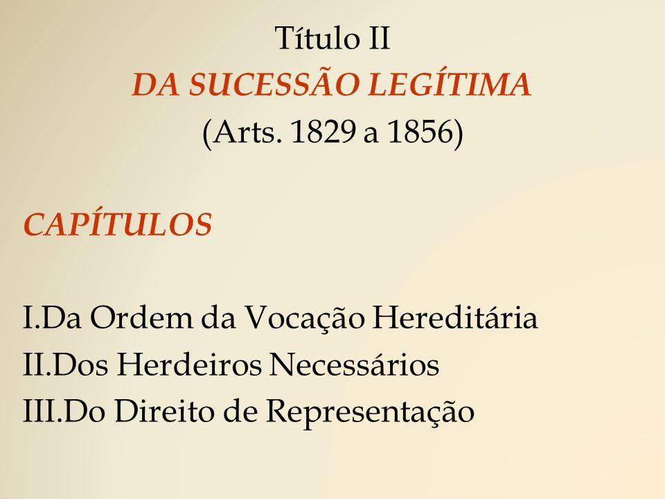 Título II DA SUCESSÃO LEGÍTIMA. (Arts. 1829 a 1856) CAPÍTULOS. Da Ordem da Vocação Hereditária. Dos Herdeiros Necessários.