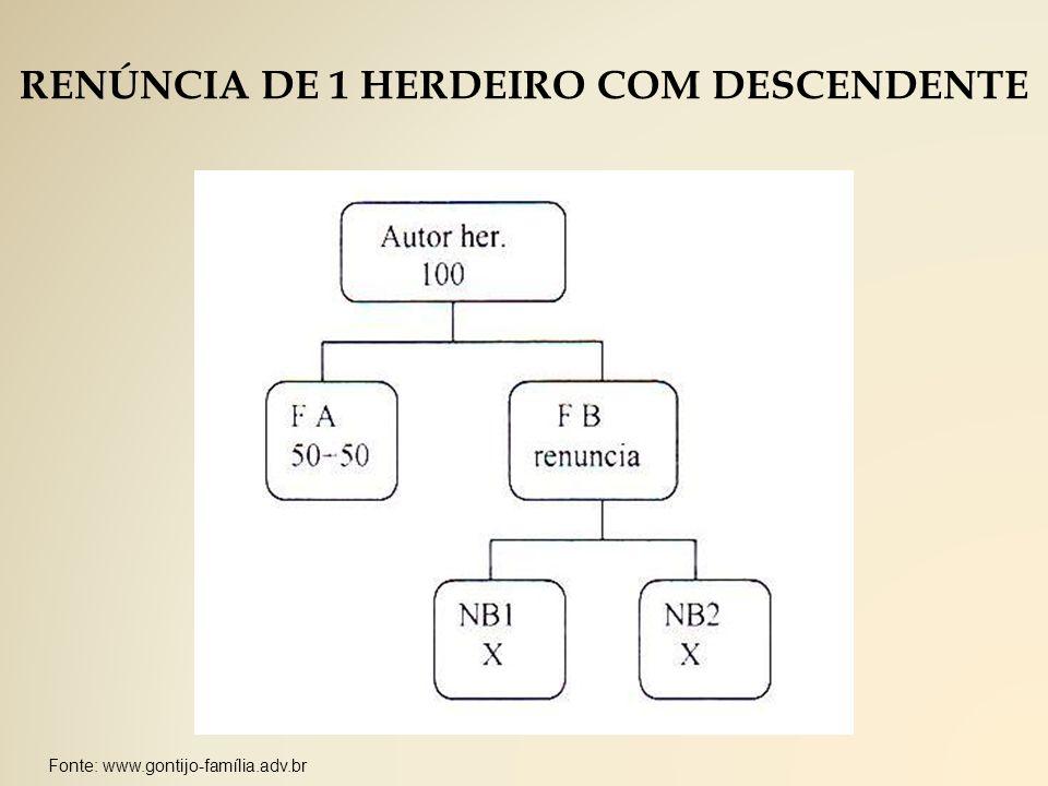 RENÚNCIA DE 1 HERDEIRO COM DESCENDENTE