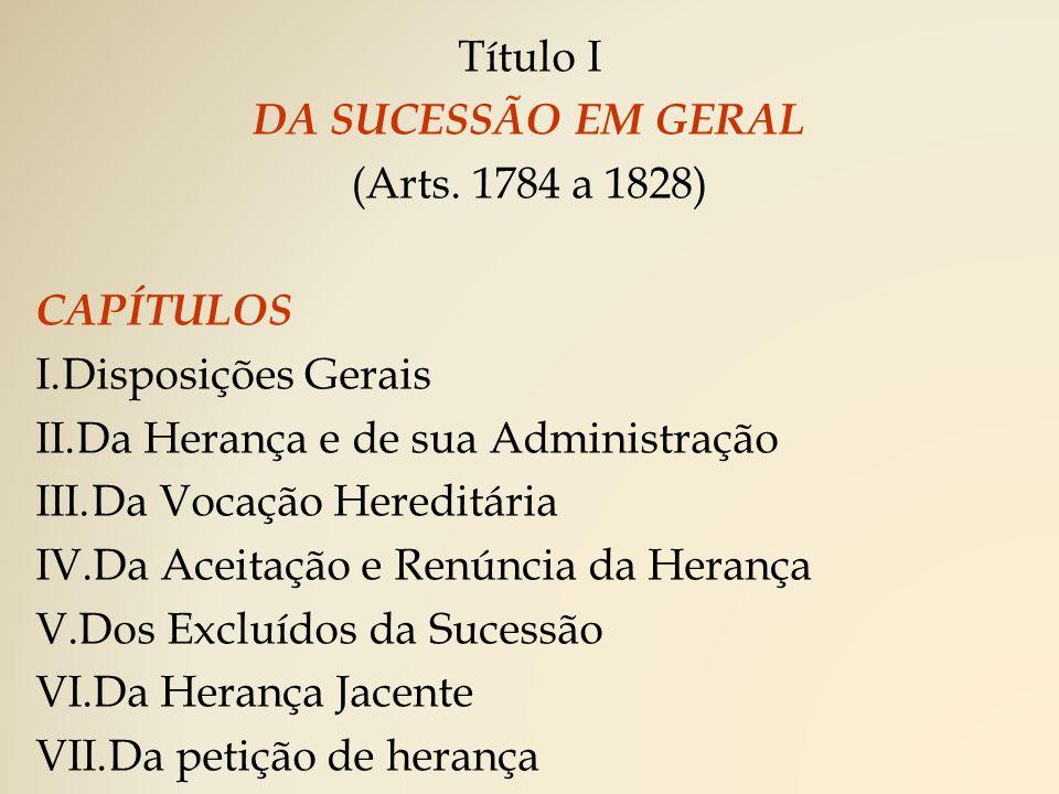 Título I DA SUCESSÃO EM GERAL. (Arts. 1784 a 1828) CAPÍTULOS. Disposições Gerais. Da Herança e de sua Administração.