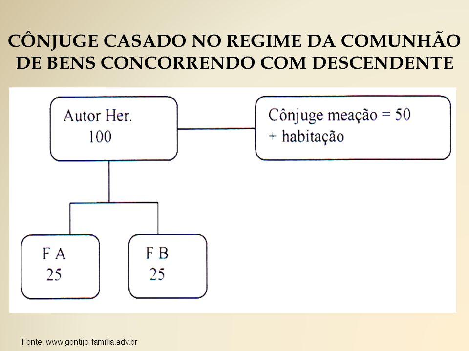 CÔNJUGE CASADO NO REGIME DA COMUNHÃO DE BENS CONCORRENDO COM DESCENDENTE
