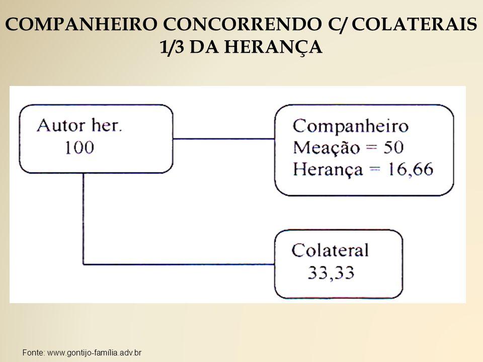 COMPANHEIRO CONCORRENDO C/ COLATERAIS 1/3 DA HERANÇA