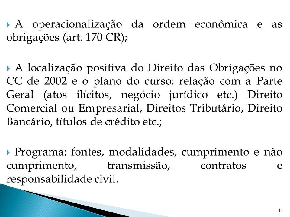 A operacionalização da ordem econômica e as obrigações (art. 170 CR);
