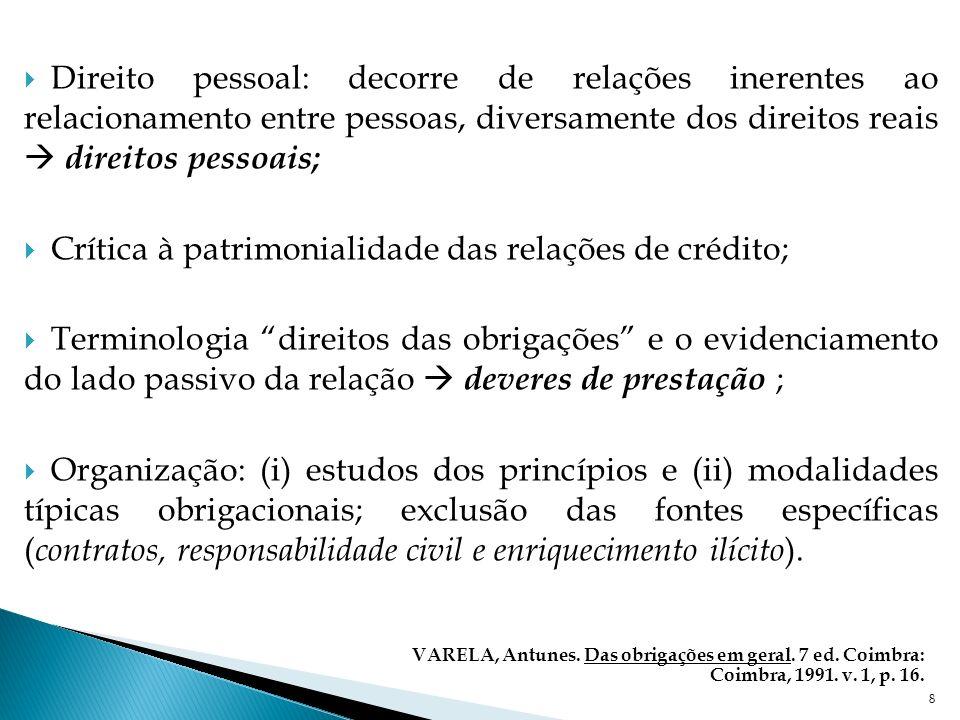 Crítica à patrimonialidade das relações de crédito;