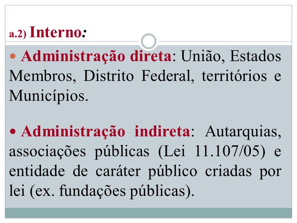 a.2) Interno: Administração direta: União, Estados Membros, Distrito Federal, territórios e Municípios.