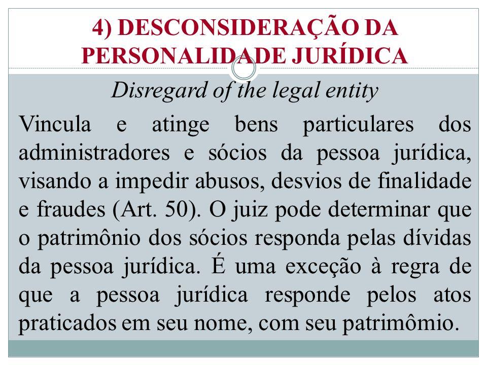 4) DESCONSIDERAÇÃO DA PERSONALIDADE JURÍDICA Disregard of the legal entity Vincula e atinge bens particulares dos administradores e sócios da pessoa jurídica, visando a impedir abusos, desvios de finalidade e fraudes (Art.
