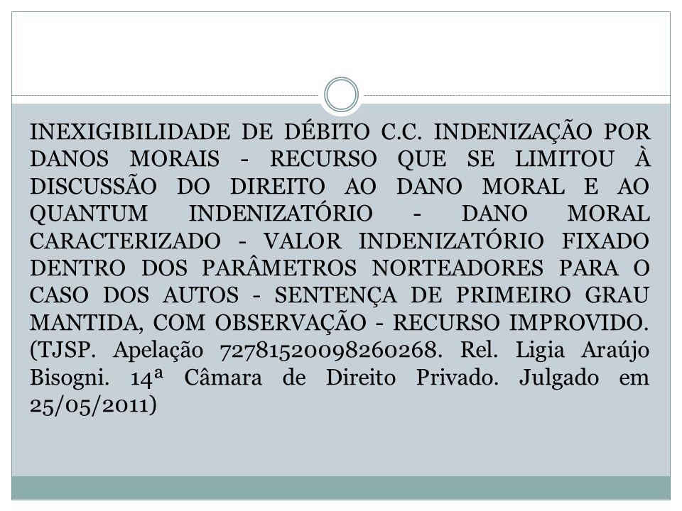 INEXIGIBILIDADE DE DÉBITO C. C
